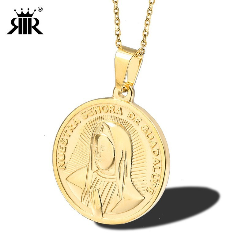 RIR OUR LADY OF GUADALUPE Pendant Necklace Round Stainless Steel Gold Virgin Mary Guadalupe Coin Pendant Medal Necklaces Women pendant