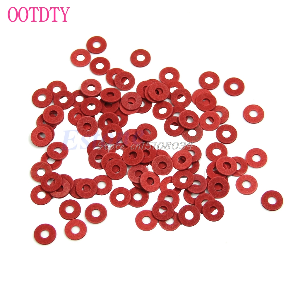 100Pcs Red M3 Flat Spacer Washers Insulation Gasket Ring New S08 Drop ship custom made 1x dn450 ptfe teflon flat washers insulation sealing spacer gasket 532mm x 478mm x 3mm od532mm id478mm thick 3mm f4