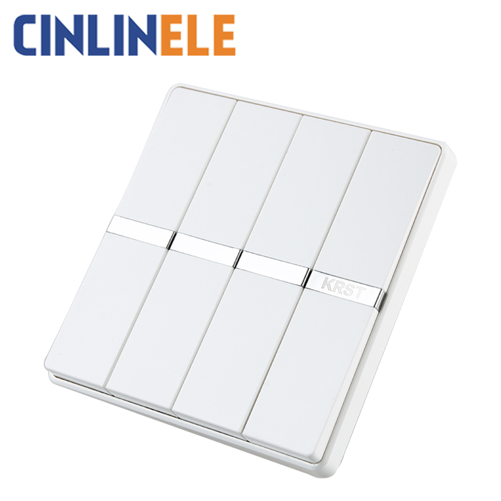 Hot Sale Luxury Wall Switch 4 Gang 1 Way White Brief Art Weave Light For Ac 110250v 10a No Border Design 86mm86mm