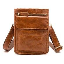 Messenger Bag Men Genuine Leather Real Cow Flap Vintage Designer Handbag Man Removable