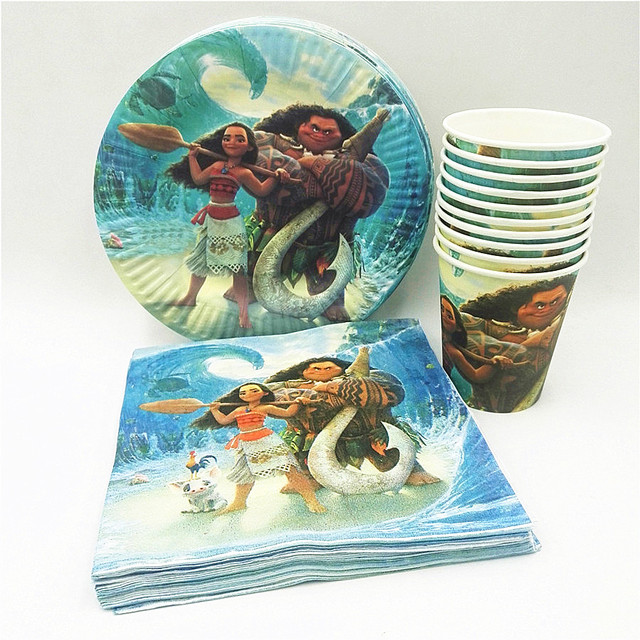 40pc Set Theme Cup Plate Napkin Moana Party Supplies For Kids Event Birthday Decorations Favors