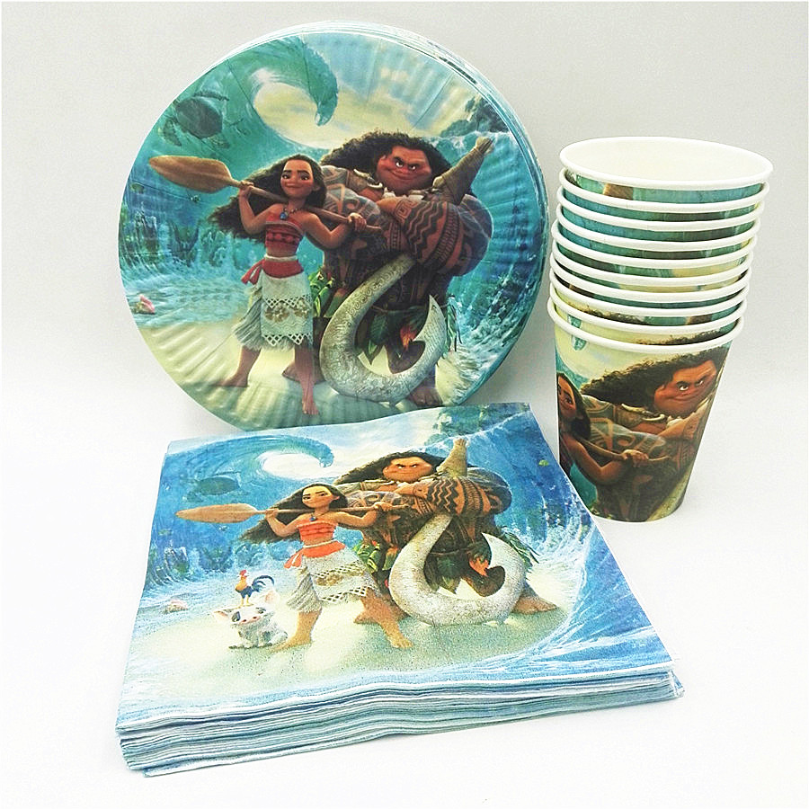 40pc/set Theme Cup/Plate/Napkin Moana Party Supplies For Kids Event Birthday Party Decor ...