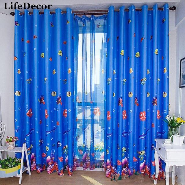 azul impreso cortinas de tul cortina de dibujos animados infantil para nios dormitorio cortina favorable al
