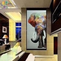 גדול יד מצוירת ציור הקיר של בעלי החיים פיל הגדול ציור שמן תמונת בד אמנות קישוט בית חדר יושב