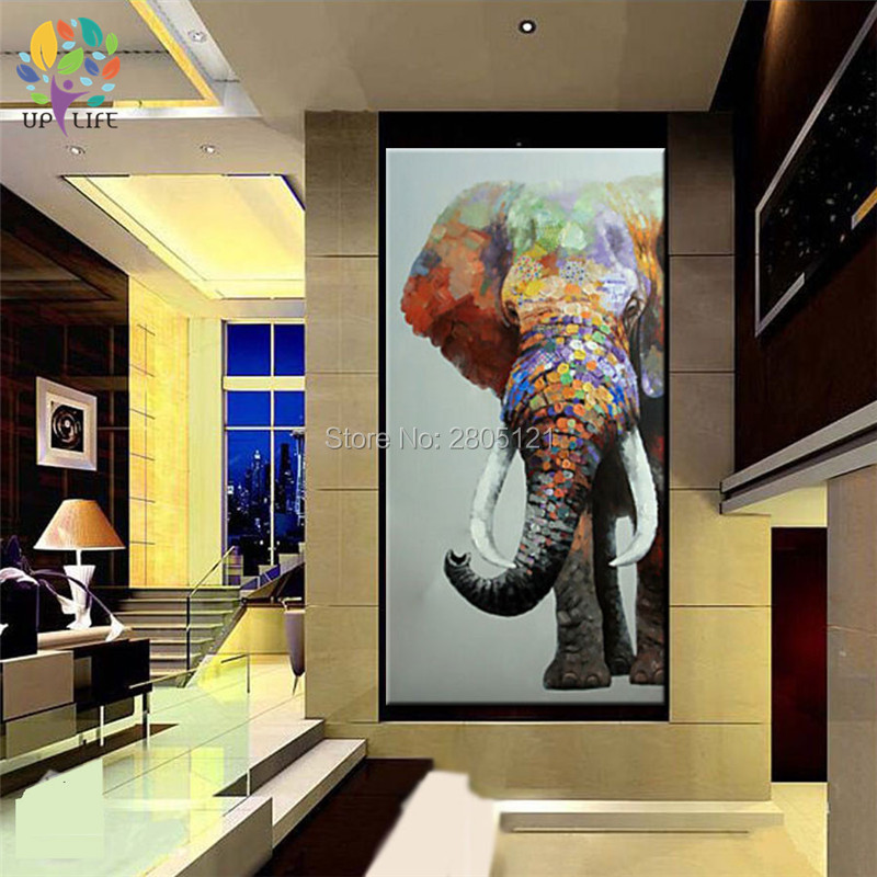 hand painted large animal wall painting the big elephant canvas picture oil painting sitting room home decoration art