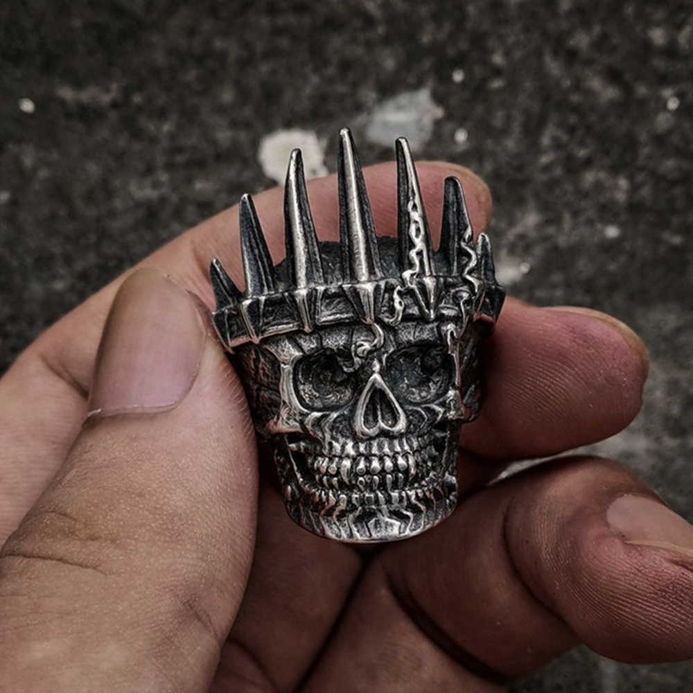 EYHIMD Mens Classical Nobility Silver King Crown Skull 316L Stainless Steel Biker Rings Punk Fasion Jewelry Gift for Men