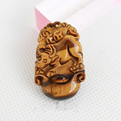 Natural tigereye zodiac pendants Tiger eye Shi Mu alexandrite Men and women wek-jin pendant/send necklace