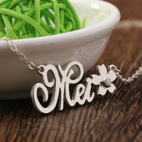 Customized Name & Flower Necklace for Women Nameplate Jewelry with stone Girlfriends Mom Gift