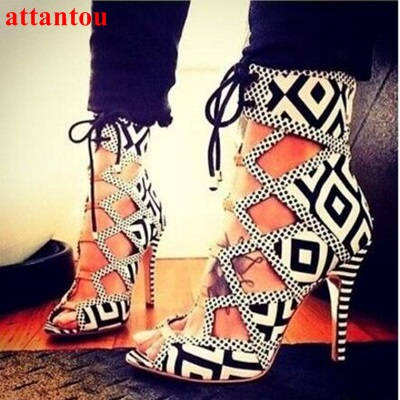 Best selling women white/black contrast color patchwork lace up sandals high heel cut-outs chess grid open toe dress sandal top selling open toe high heel sandals luxury rhinestone embellished lace up sandal wedding party summer dress shoes women