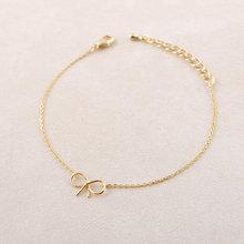 Shuangshuo Dainty Bow Bracelets for Women Brass Bracelet pulseras erkek bileklik Stainless Steel Bow Knot Charm Bracelet SL001