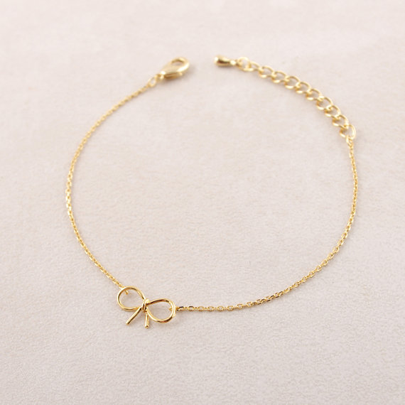 Min pc Gold and silver Dainty Bow Bracelet brass bracelet SL