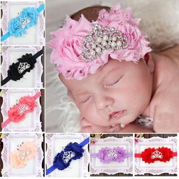 MHS.SUN 5pcs Baby Girls Hair Bows Crown Pearl Princess Headband High quality Chiffon Elastic Head wrap Hair accessories HD1052