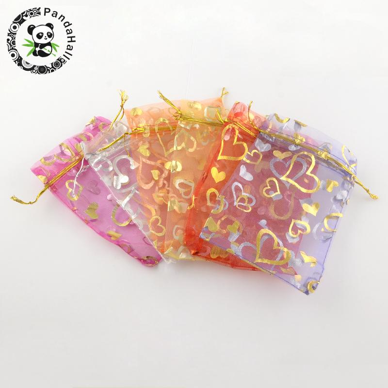 100pcs 9x7cm Mixed Color Rectangle Heart Printed Organza Bags Gift Bags For Jewelry Packing DIY Jewelry