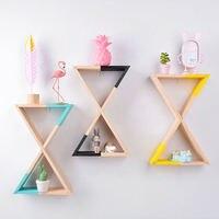 Nordic Design Wooden Triangular Funnel Wall Shelf Decorative Hanging Rack For Sundries Nursery Baby Room Home Decor 42.5*20cm