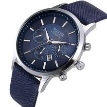 TOP Brand NORTH Quartz Wristwatch Luxury Leather Men Watch Fashion Sports Clock Water proof relogio masculinofashion watches