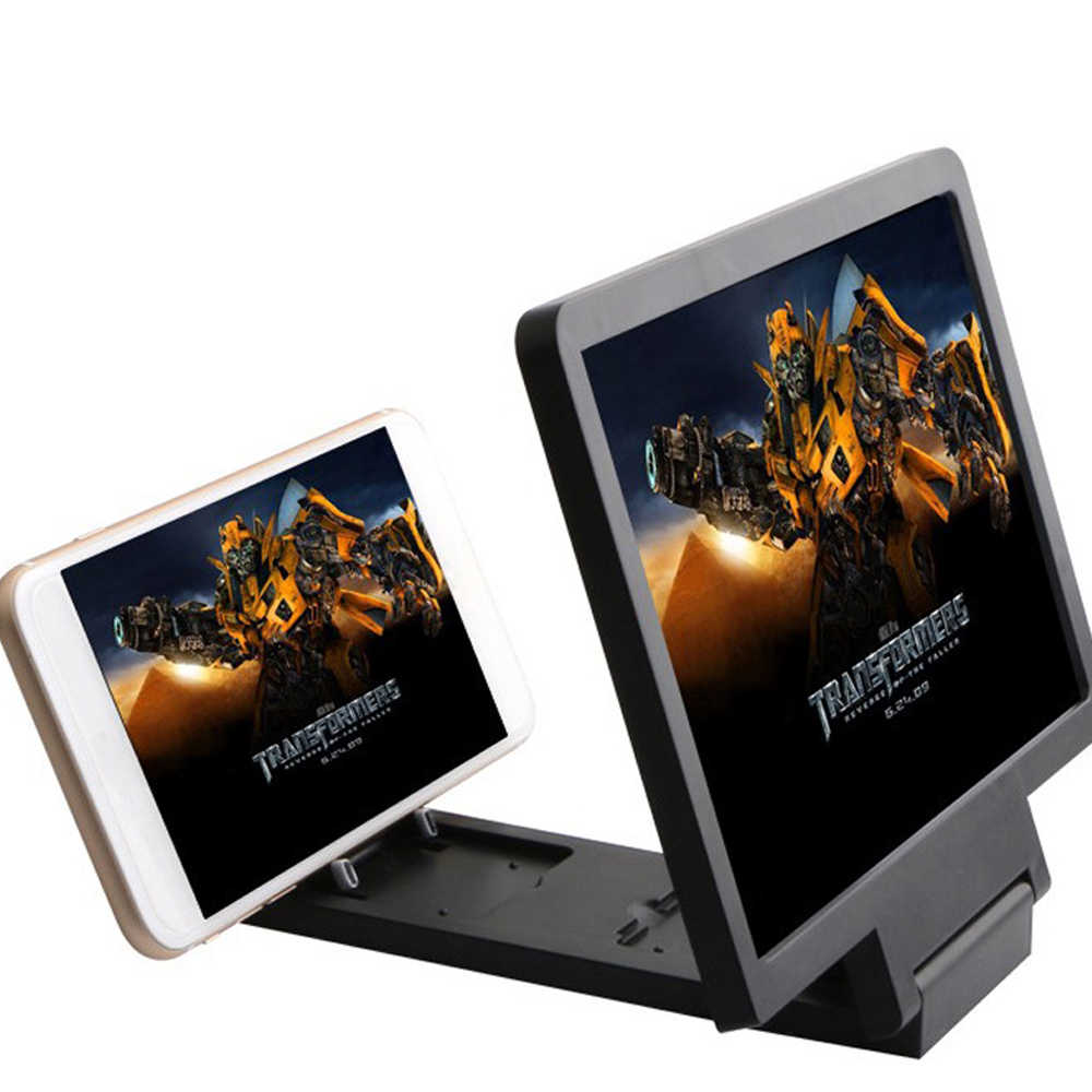Folding Enlarged Magnifying Glass 3D Moblie Phone Screen Magnifier HD video Amplifier with Foldable Holder Stand Magnifier