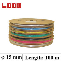 LDDQ 100m Shrinkable Tubing In Rolls 7colors Available 15mm Heat Shrink Ratio2 1 Insulation Sleeving Tube