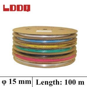 LDDQ 100m Shrinkable Tubing in rolls 7colors Available 15mm Heat Shrink Ratio2:1 Insulation Sleeve Tube Wire Wrap Heatshrink