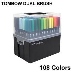 فرشاة ألوان مائية مزدوجة من TOMBOW ABT أقلام ألوان 108 ألوان برأس مزدوج أقلام رسم ناعمة