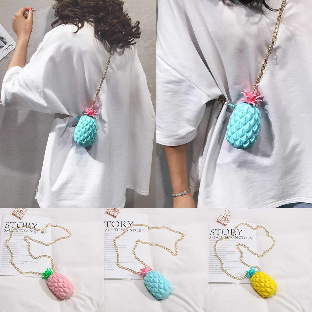 Chain Crossbody bag Women's Pineapple Jelly Pack Silicone Messenger Bag Small Shoulder Bag Party Ladies Luxury Bags