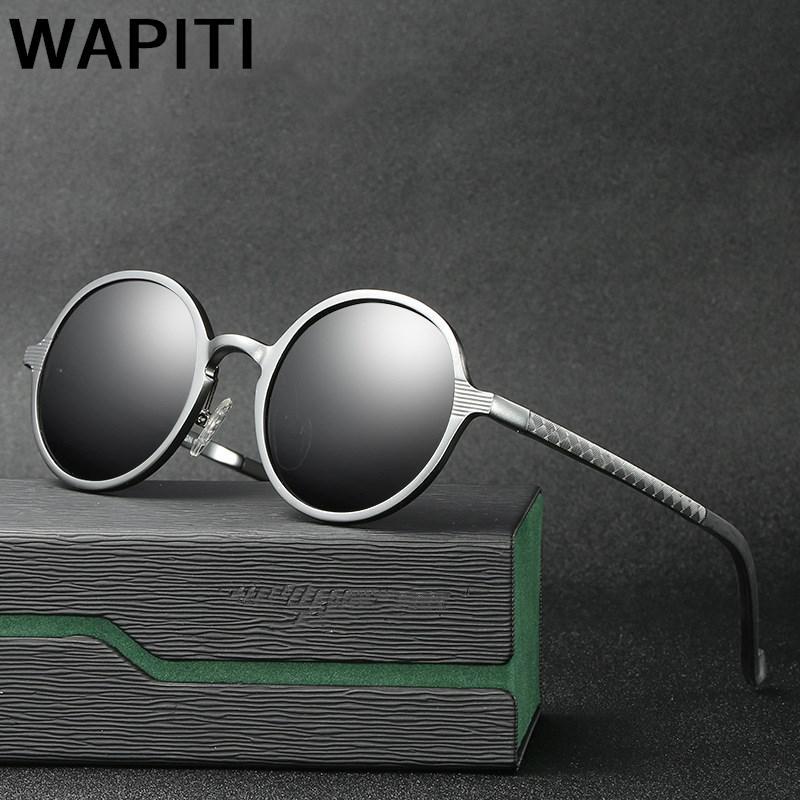 De luxe Ronde lunettes de Soleil Femmes Cadre En Aluminium Polarisées Soleil lunettes Gothique Steampunk Shades Miroir Ronde Vintage lunettes de Soleil