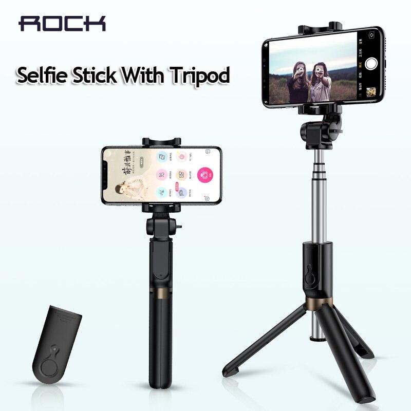 ROCK Wireless Bluetooth Selfie Stick Foldable Mini Tripod Extendable Monopod Universal For iPhone XS Samsung note 9 Xiaomi mix 3