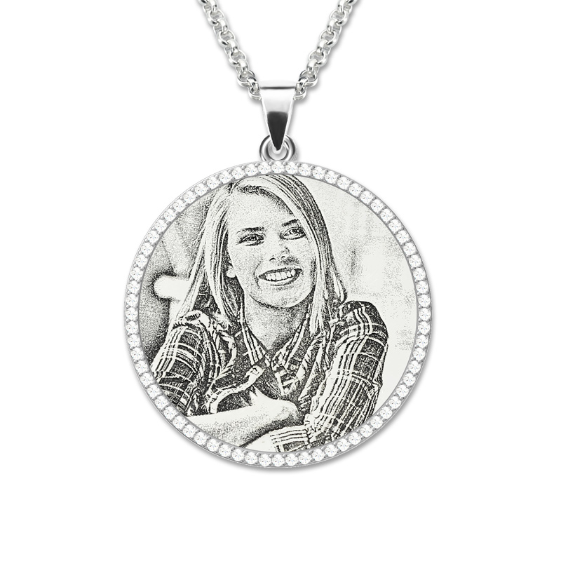 AILIN Custom Personalized Round Photo Engraved Pendant Sterling Silver Birthstone Necklace Memory Gift for Mother