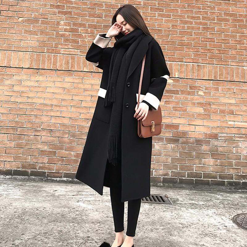 Femmes Col Noir Manteaux Nouveau Cachemire Taille Double Manteau Beige Breasted Qualité noir De Hiver Femelle Laine Long Haute Grande Turn 2018 down 40vpw