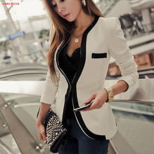 Femme carrière Blazer costume femmes à manches longues Blazer Mujer OL Style Slim court vestes bureau dames travail uniforme manteau noir blanc(China)