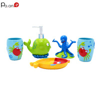 5pcs Kids' Bathroom Accessories Set Toothbrush Holder Bath Room Decor Lovely Cute Crab Octopus Whale Color Resin Children Gift
