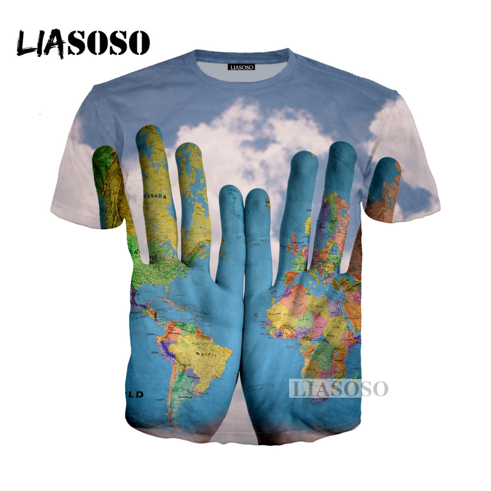 World map sweatshirt best price liasoso 2018 summer harajuku cartoon world map tshirt 3d print t shirthoodiesweatshirt unisex hands graffiti tees t shirt g229 where to buy gumiabroncs Images