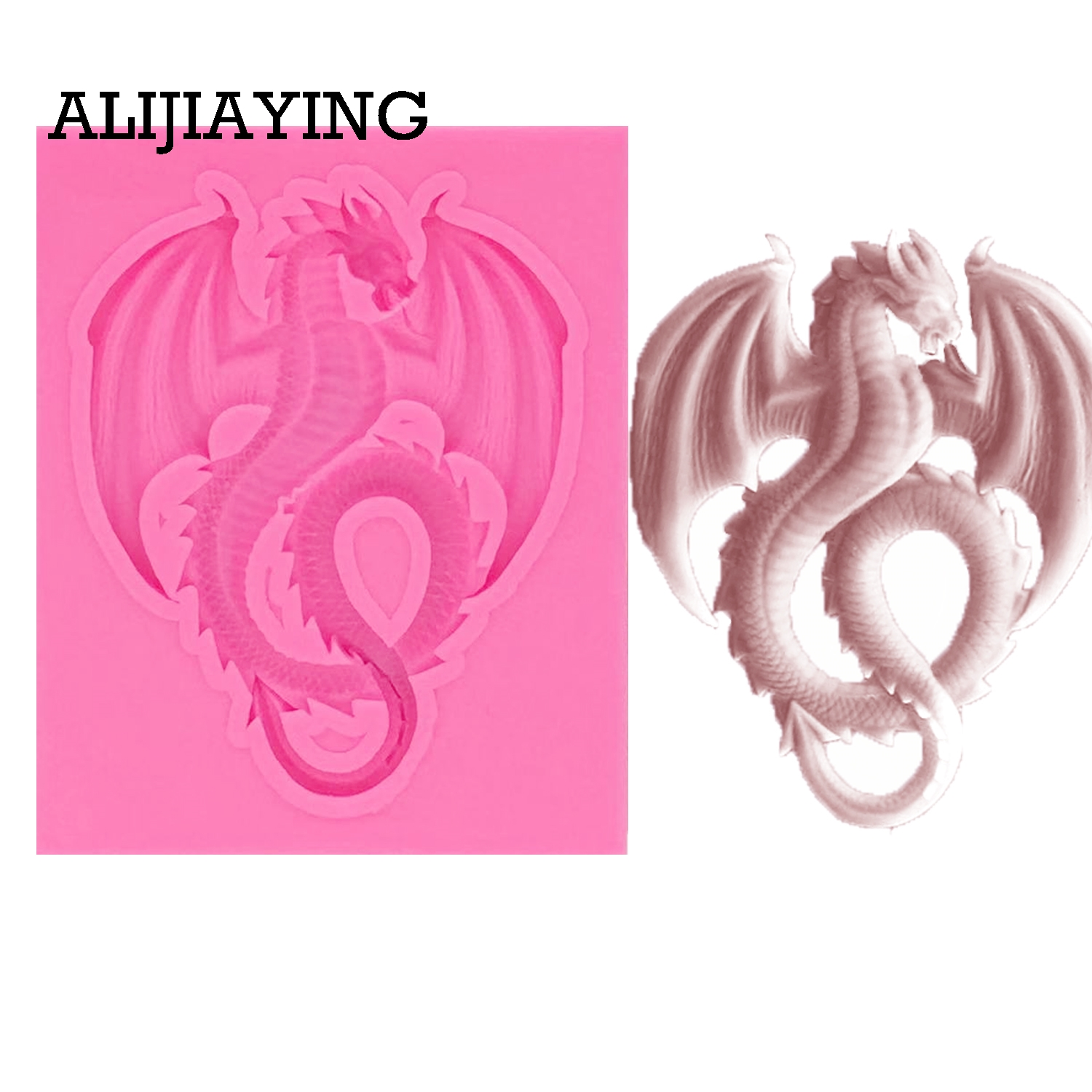 M1012 1Pcs Cartoon Flying dragon Sugarcraft Silicone mold cake decorating tools Fondant chocolate moulds Polymer Clay Resin