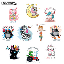 Nicediy Cute Animal Patches Set Iron on Transfer Unicorn Cat for Girl Kids Clothing Heat Vinyl Stickers Badge