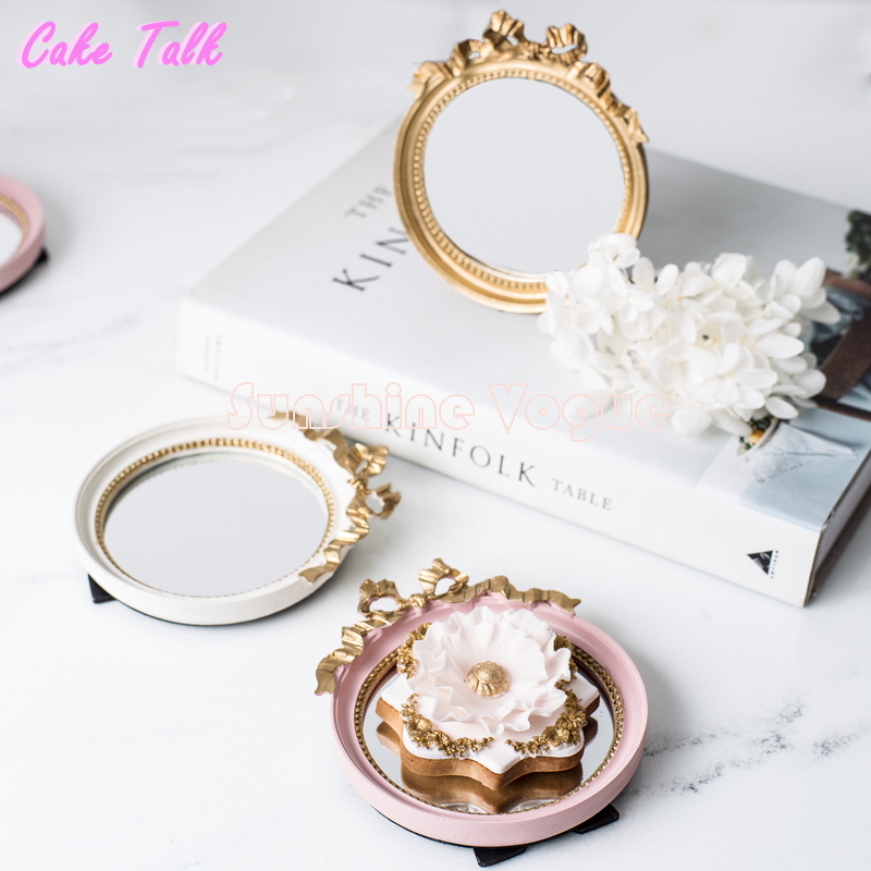 Mini tårta bricka europeisk vintage spegelplåt guld / rosa / vit Lugn smink spegel godis bar dekoration tårta verktyg