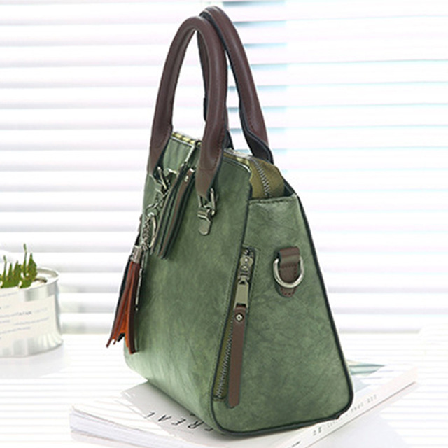 Vintage Pu Leather Ladies Handbags Women Messenger Bags Totestassel