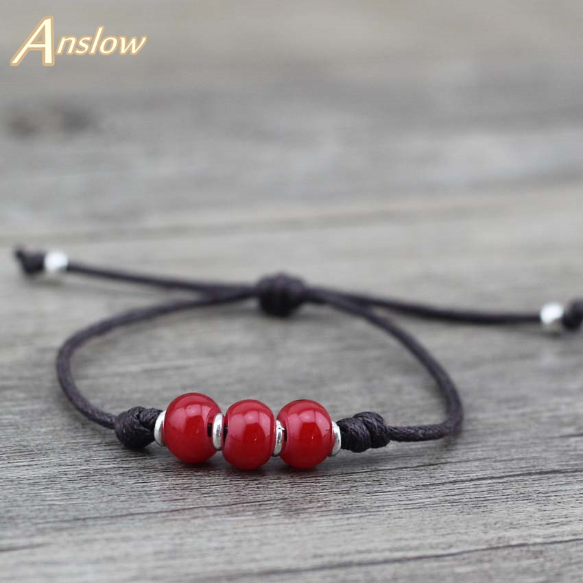 Anslow Hot Sweet Korean Handmade DIY Charm Bijoux Leather Bracelete para mujeres Amistad Pulseras Regalo del día de la madre LOW0493LB
