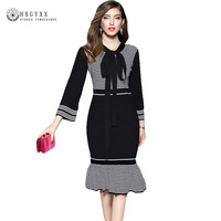 Black White Striped Flare Sleeve Bow Neck Casual Dress Female Slim Bodycon Knitted Sweater Midi Party