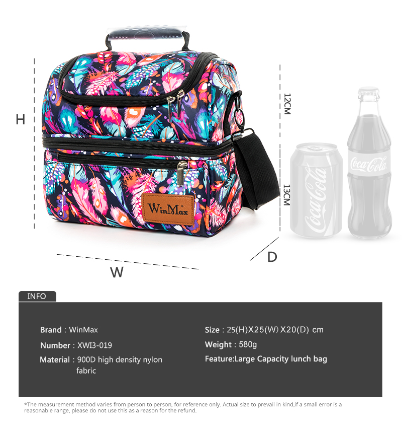 Winmax Large Thicken Women Fresh Keeping Waterproof Cooler Lunch Bags Men Portable Travel Insulation Thermal Cooler Bag Ice Pack