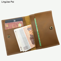 LingJiao Pai Classic Coin Purse Crazy Horse Leather Mini Luxury Travel Wallet Hasp Men's Slim Leather Credit Card Pouch Case