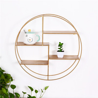 Wrought Iron Four tier Rack Round Simple Gold Wall Decoration Living Room Creative Storage Wall Hanging