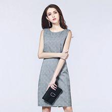 5a072906c84 Marina Kaneva Women plaid spring Autumm O neck Dresses Emplire pencil dress  gray plus size slim