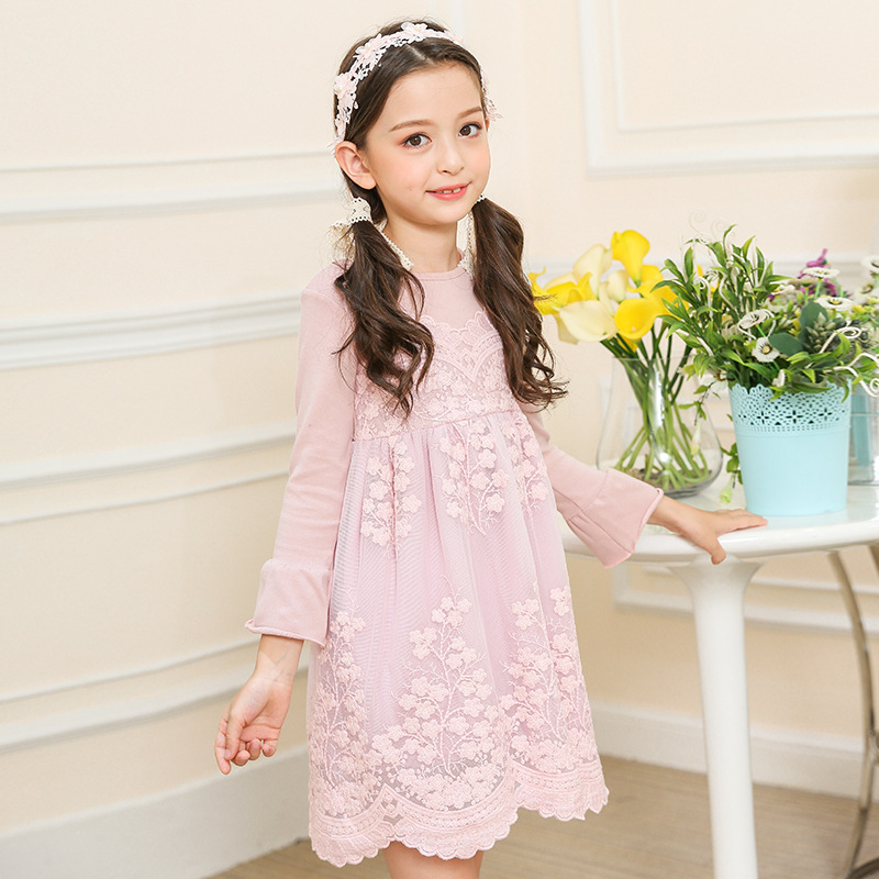 Cute Teenager Girls Dresses Spring 2018 Pink/Blue Lace ...