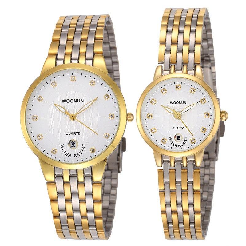 Где купить Роскошный набор часов WOONUN для пар, ультратонкие кварцевые часы из нержавеющей стали золотого цвета для мужчин и женщин, 2020