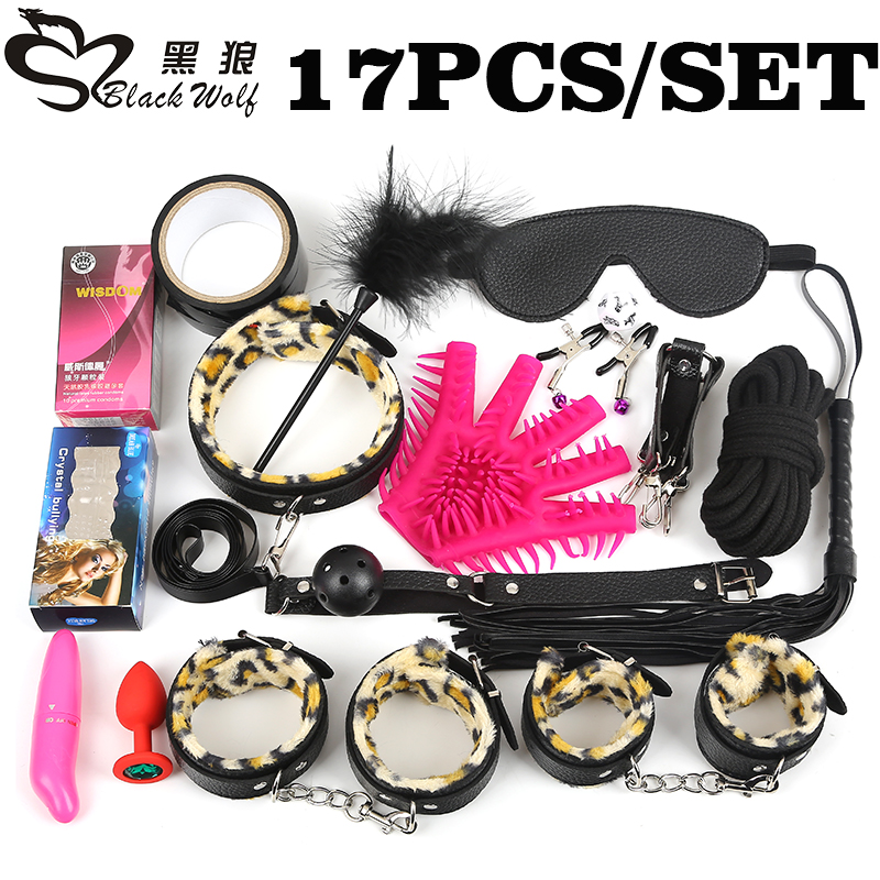 Black Wolf 17Pcs /set BDSM Bondage Set leopardkorn Leather Fetish Adult Games Sex Toys for Couples SM Sexy handcuffs Erotic toys