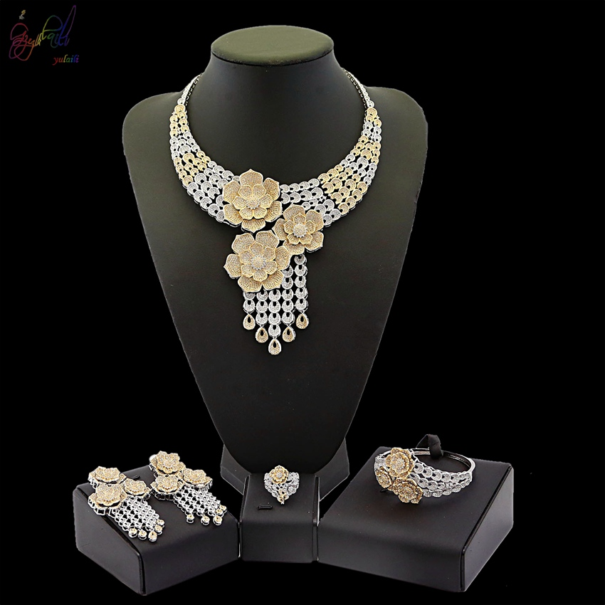 Yulaili American Natural Zircon Luxury Gold Series Three Flower Leafage Design Four Jewelry Sets in Party