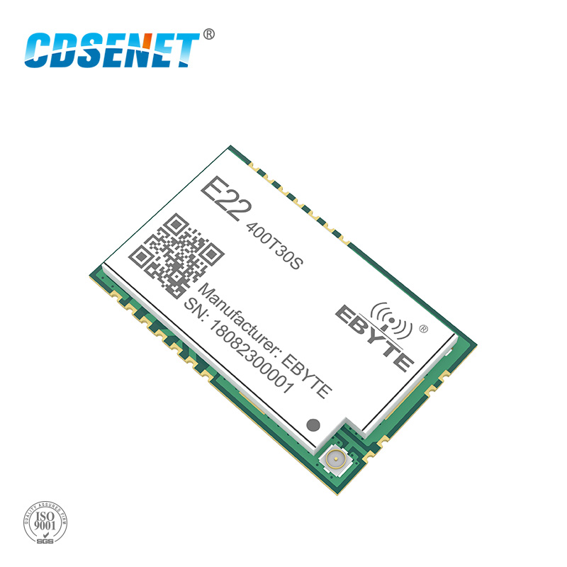 SX1268 LoRa 433MHz 30dBm SMD UART transceptor inalámbrico E22-400T30S IPEX sello agujero 1W largo alcance TCXO transmisor y receptor