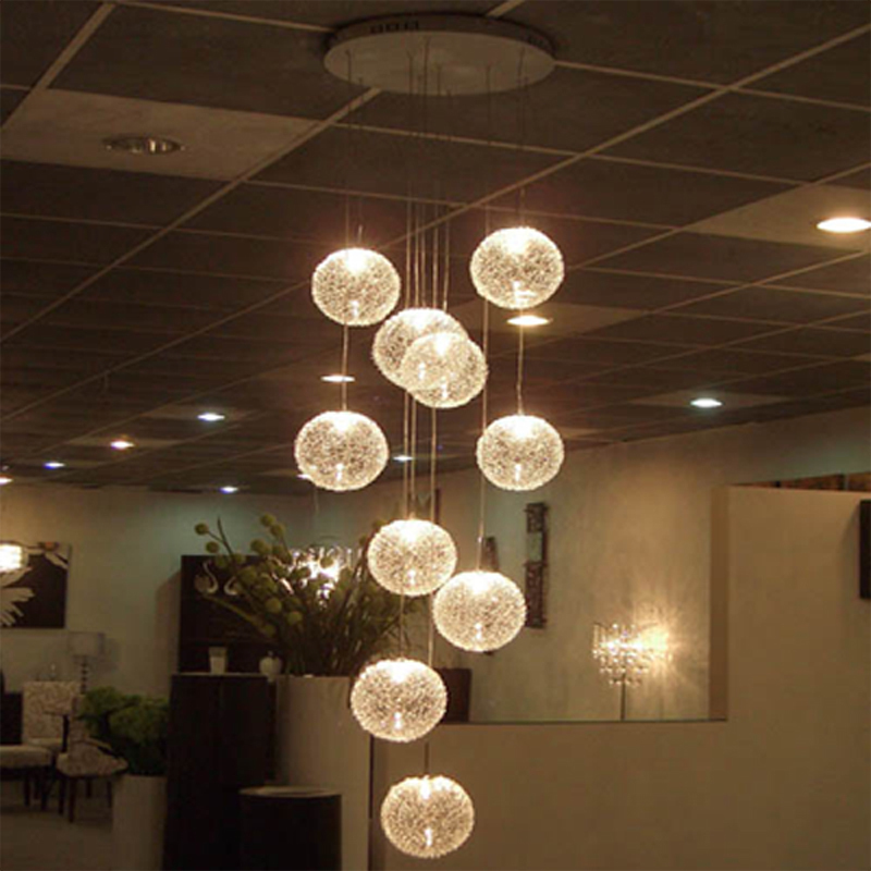 Modern Chandeliers Globe Glass Ceiling Lamp with 10 Balls LED Light