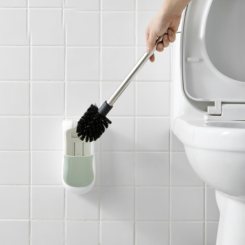050 Multi function Wall mounted semi automatic toilet lid with base toilet brush 21 10cm in Toilet Brush Holders from Home Improvement