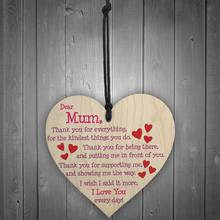 Mum I Love You Everyday Wooden Hanging Heart Mothers Day Gift Polished Mums Sign(China)