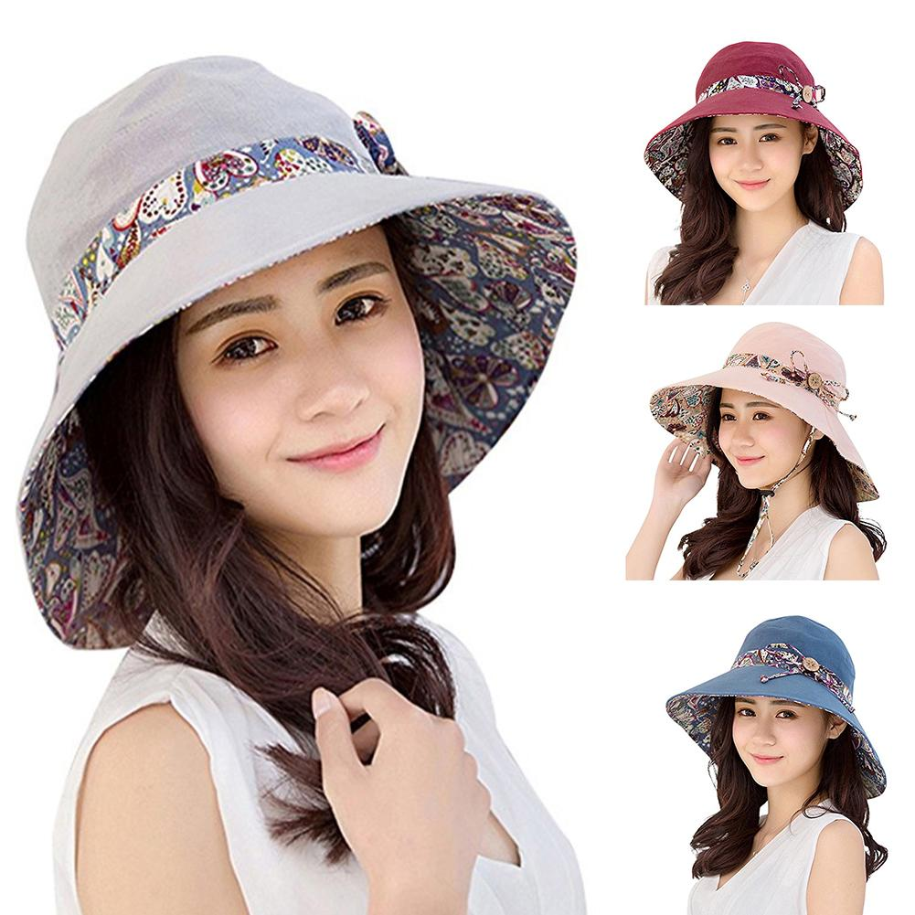 Women Summer Beach Travel Bowknot Wide Brim Sun Hat Reversible Foldable Cap Hot